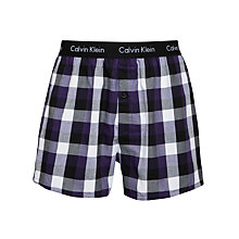 Buy Calvin Klein Underwear Slim Fit Check Boxers, Purple/White/Black Online at johnlewis.com