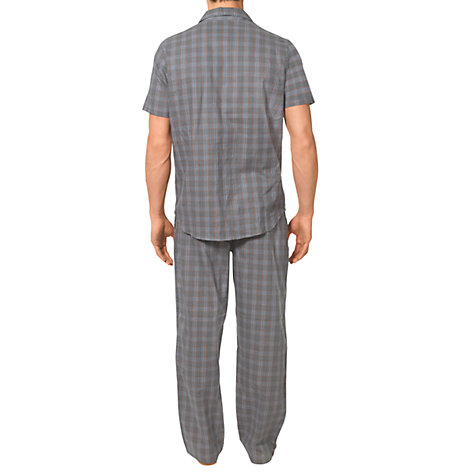 Buy Calvin Klein Woven Cotton Check Pyjama Pants, Grey Online at johnlewis.com