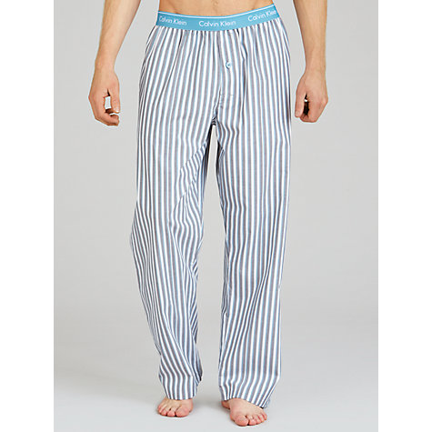 Buy Calvin Klein Woven Striped Pyjama Trousers, Grey Online at johnlewis.com