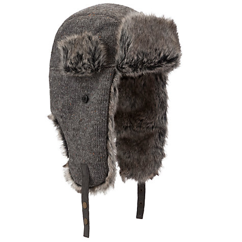 Buy John Lewis Knitted Faux Fur Trapper Hat, Grey Online at johnlewis.com