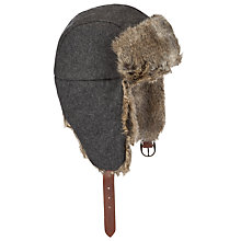 Buy Gant Wool Faux Fur Trapper Hat, Grey Online at johnlewis.com