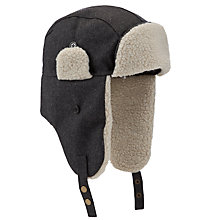 Buy John Lewis Melton Trapper Hat, Charcoal Online at johnlewis.com