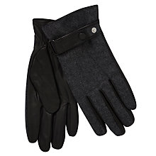 Buy Gant Twill and Leather Strap Gloves, Charcoal Online at johnlewis.com