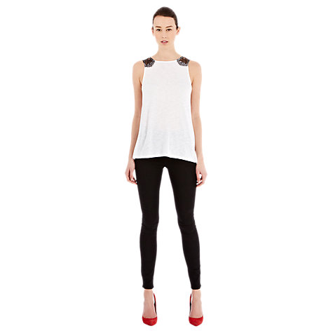 Buy Warehouse Lace Yoke Slub Vest, White Online at johnlewis.com