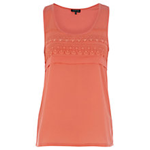 Buy Warehouse Satin Trim Vest Top, Coral Online at johnlewis.com