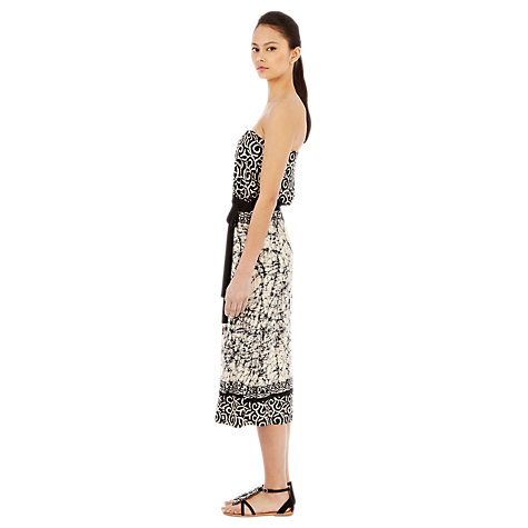 Buy Warehouse Batique Dress, Black Pattern Online at johnlewis.com