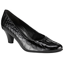 Buy Gabor Beautiful Patent Croc-Print Court Shoes, Black Online at johnlewis.com