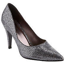 Buy John Lewis Occasion Hyatta Glitter Court Shoes, Silver Online at johnlewis.com