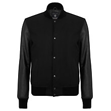 Buy Selected Homme Bushwick Leather Sleeve Jacket Online at johnlewis.com
