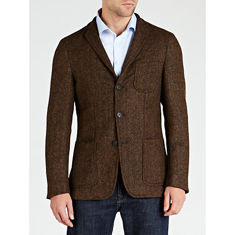 Buy Gant Herringbone Melange Blazer, Dark Brown Online at johnlewis.com
