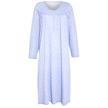 Buy John Lewis Floral Jersey Nightdress, Blue Floral Online at johnlewis.com