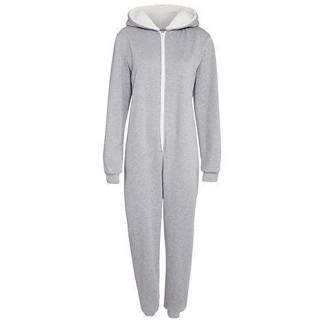 Buy John Lewis Sherpa Onesie, Grey Marl Online at johnlewis.com