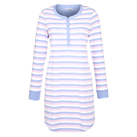 Buy John Lewis Stripe Nightdress, Grey / Pink Online at johnlewis.com