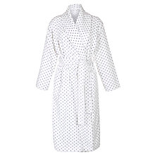 Buy John Lewis Spot Towelling Robe, Ivory/Grey Online at johnlewis.com