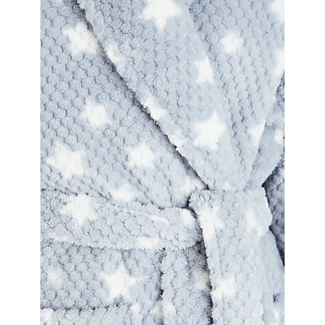 Buy John Lewis Waffle Fleece Star Robe, Ivory / Grey Online at johnlewis.com