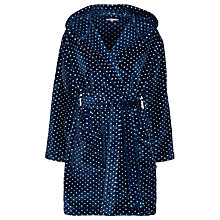 Buy John Lewis Short Hooded Fleece Robe, Navy Online at johnlewis.com