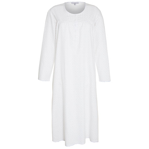 Buy John Lewis Flannel Spot Nightdress, White Online at johnlewis.com
