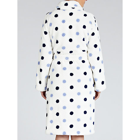 Buy John Lewis Waffle Fleece Spot Robe, Ivory / Blue Online at johnlewis.com