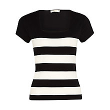 Buy Precis Petite Breton Knitted Jersey Top, Black/Ivory Online at johnlewis.com