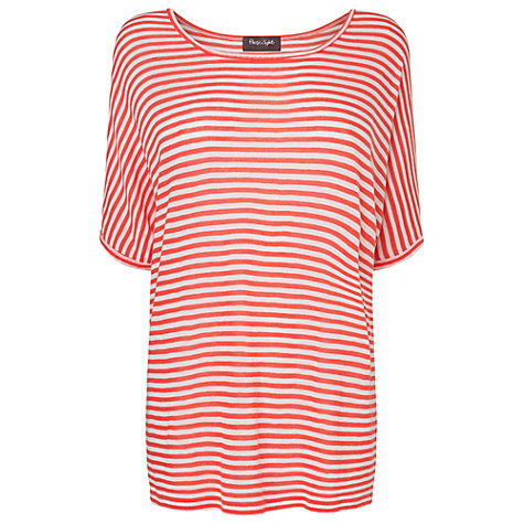 Buy Phase Eight Striped Knitted T-Shirt, Coral/Ivory Online at johnlewis.com