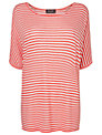 Phase Eight Striped Knitted T-Shirt, Coral/Ivory