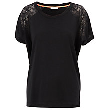 Buy Whistles Abbie Lace Bubble T-Shirt, Black Online at johnlewis.com