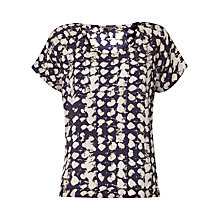 Buy Jigsaw Ink Smudge Spot Silk Top, Blue Online at johnlewis.com