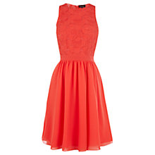 Buy Warehouse Mesh Embroidered Dress, Coral Online at johnlewis.com