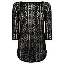 Buy Warehouse Western Lace Top, Black Online at johnlewis.com