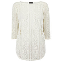Buy Warehouse Western Lace Top, Cream Online at johnlewis.com