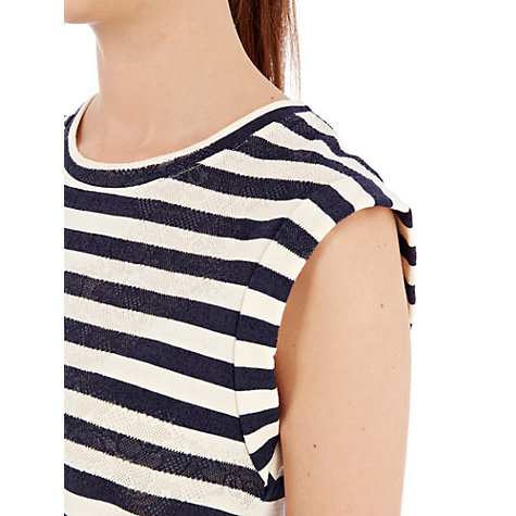 Buy Warehouse Stripe Jacquard T-Shirt, Navy Stripes Online at johnlewis.com