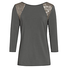 Buy Reiss Sequin Shoulder Jersey Top, Smoke Online at johnlewis.com