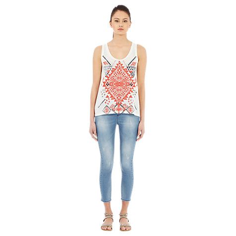 Buy Warehouse Zip Side Capri Trousers, Bleach Denim Online at johnlewis.com