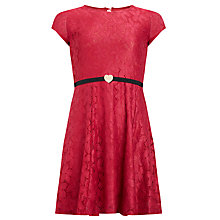 Buy Yumi Girl Belted Lace Dress, Pink Online at johnlewis.com