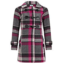 Buy Yumi Girl Woodland Checked Duffle Coat, Pink Online at johnlewis.com