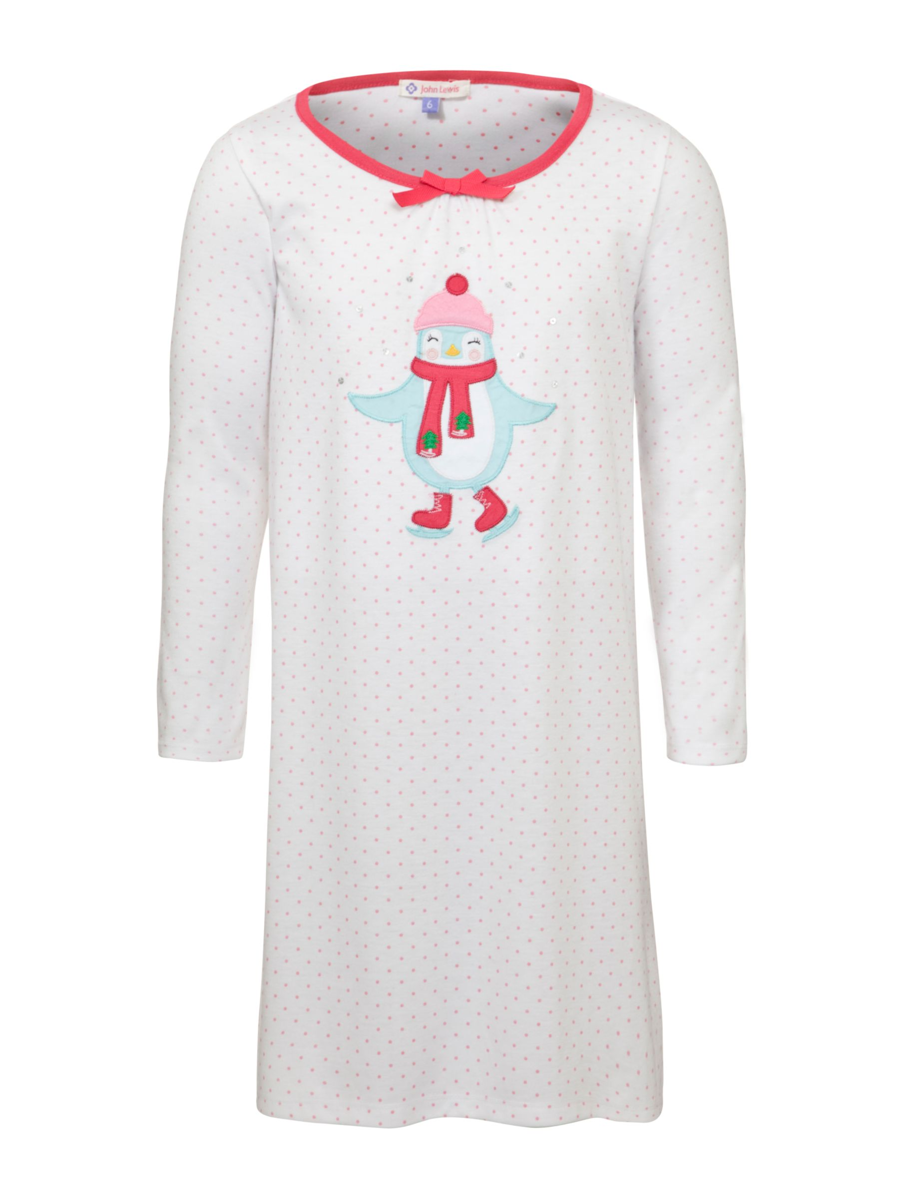 John Lewis Girl Long Sleeved Penguin Nightie, Cream/Red