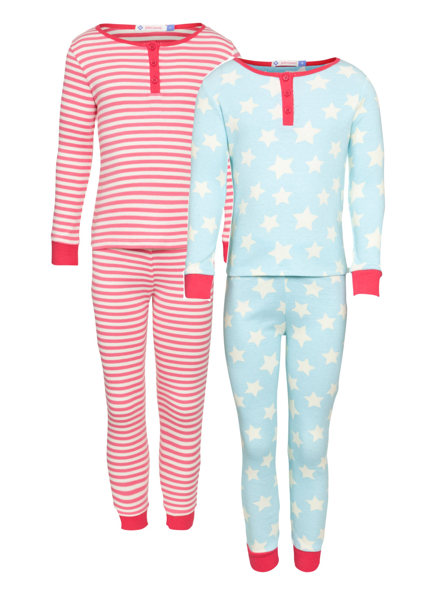 John Lewis Girl Stars and Stripes Pyjamas, Pack of 2, Red/Blue