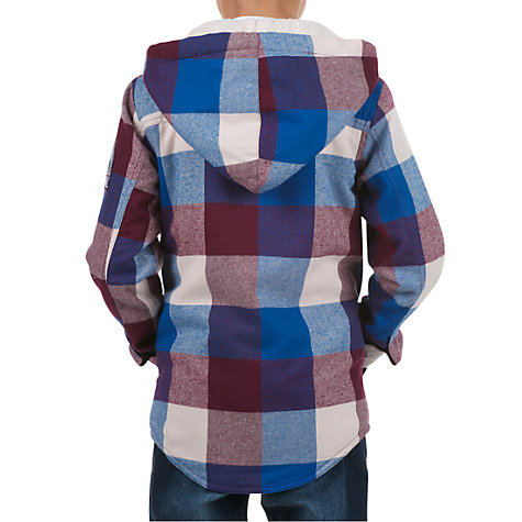 Buy Animal Boys' Button Front Checked Hoodie, Wine/Blue Online at johnlewis.com
