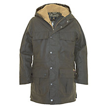Buy Barbour Boys' Durham Hooded Waxed Jacket, Olive Green Online at johnlewis.com