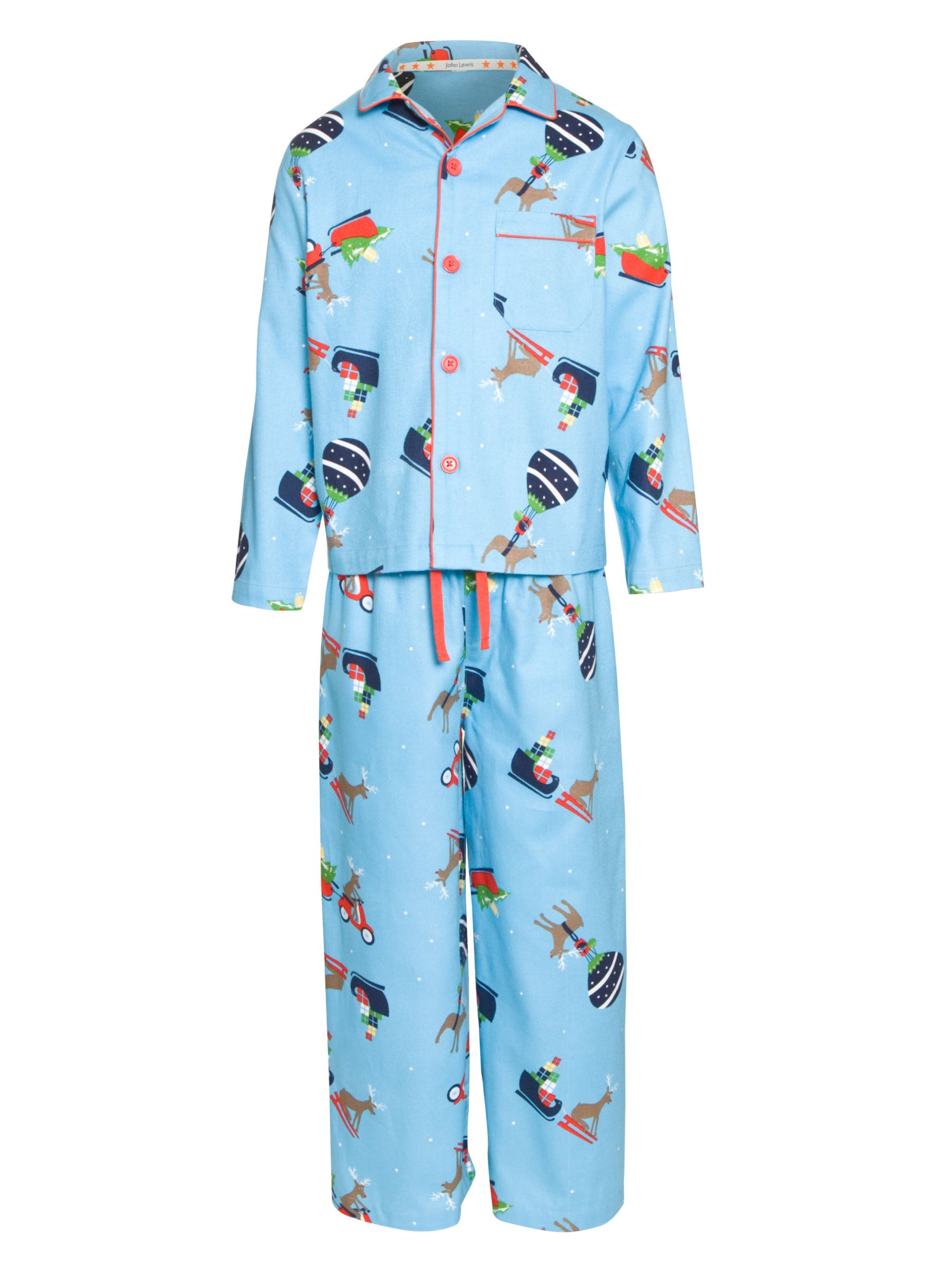 John Lewis Boy Christmas Print Pyjamas, Blue Multi