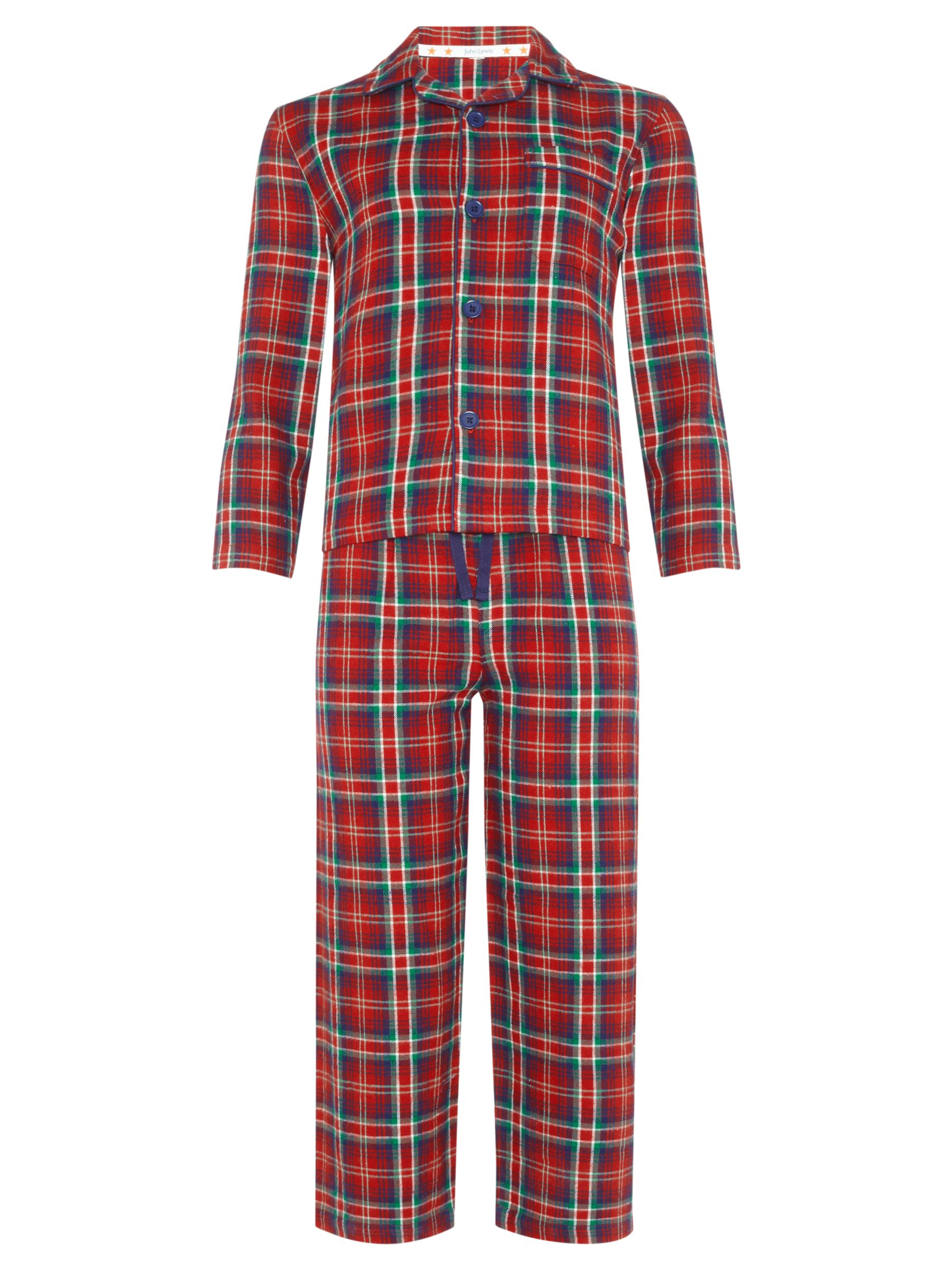 John Lewis Boy Checked Pyjamas, Red/Multi