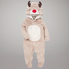 Buy John Lewis Baby Reindeer Hooded Bodysuit, Brown Online at johnlewis.com