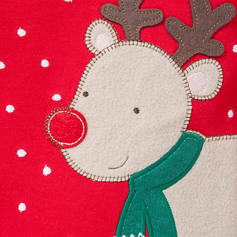 Buy John Lewis Baby Reindeer Sleepsuit, Red Online at johnlewis.com