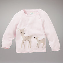 Buy John Lewis Baby Deer Jumper, Pink Online at johnlewis.com