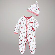 Buy John Lewis Baby Reindeer and Santa Sleepsuit, White/Multi Online at johnlewis.com