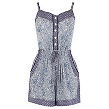 Buy Warehouse Mixed Print Playsuit, Blue Online at johnlewis.com