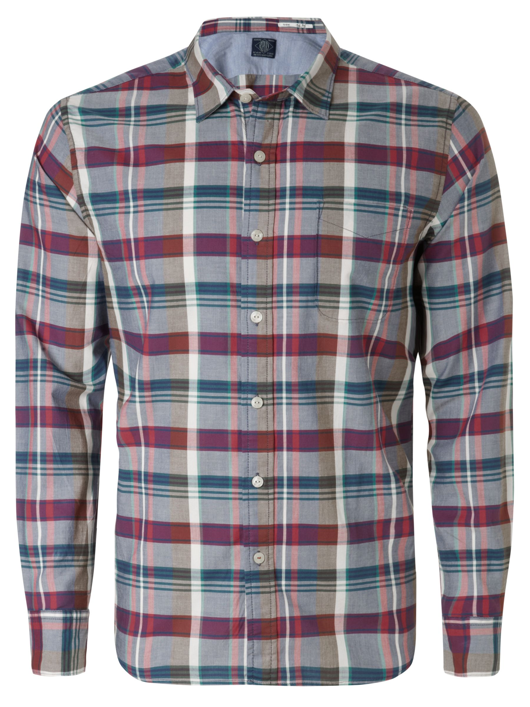 Replay Large Check Long Sleeve Shirt RedBlue