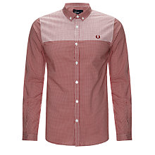 Buy Fred Perry Panel Print Gingham Long Sleeve Shirt Online at johnlewis.com