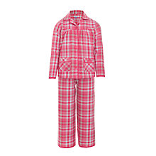Buy John Lewis Girl Christmas Tartan Woven Pyjamas, Red Online at johnlewis.com