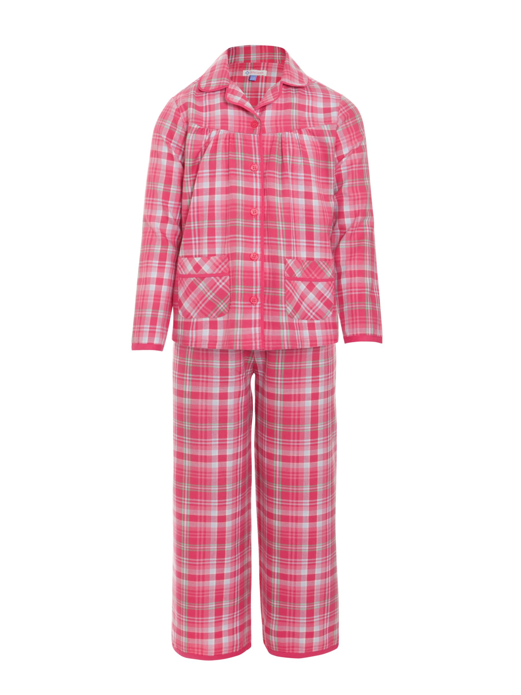 John Lewis Girl Christmas Tartan Woven Pyjamas, Red